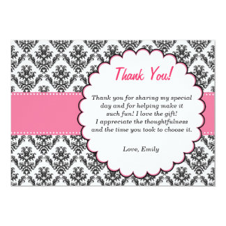 Damask Thank You Card Pink Black 13 Cm X 18 Cm Invitation Card