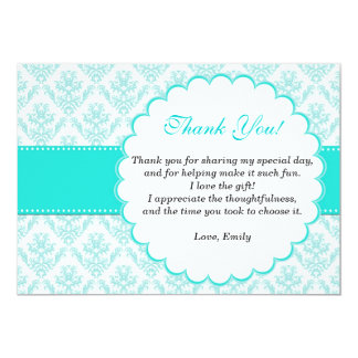 Damask Thank You Card Teal Aqua Turquoise 13 Cm X 18 Cm Invitation Card