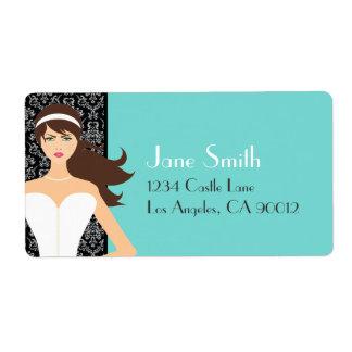 Damask Tiffany Blue Bridal Shower [Brunette Bride] Shipping Label