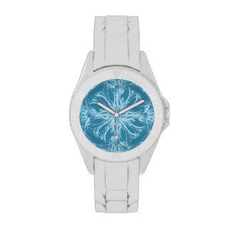 Damask Tropical Blossoms on Marine Blue Wrist Watch