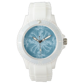 Damask Tropical Blossoms on Marine Blue Wrist Watch