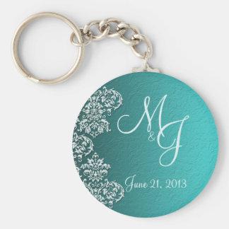 Damask Turquoise Wedding Key Chain