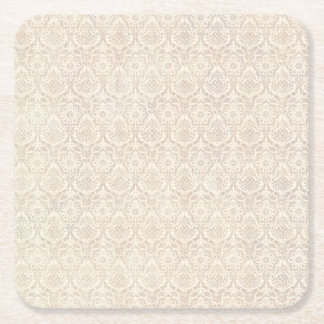 Damask Vanilla Pattern Square Paper Coaster