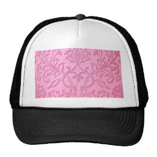 damask velvet pink girly victorian pattern textile trucker hat