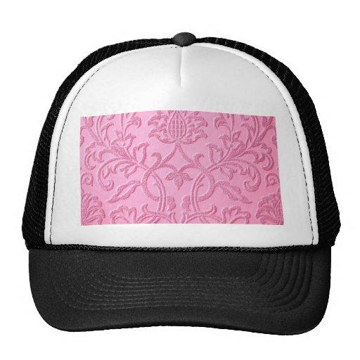 damask velvet pink girly victorian pattern textile hats