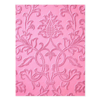 damask velvet pink girly victorian pattern textile postcard