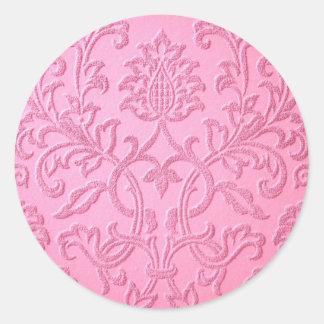 damask velvet pink girly victorian pattern textile round sticker