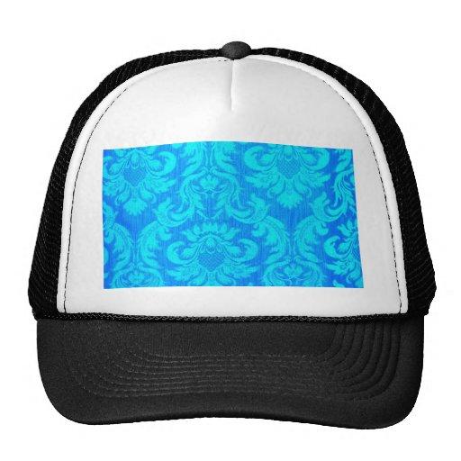 Damask very blue textile pattern elegant chic fun hats