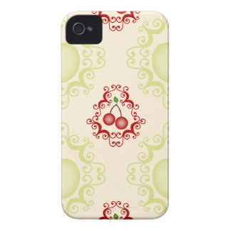 Damask vintage cherry cherries wallpaper pattern iPhone 4 case