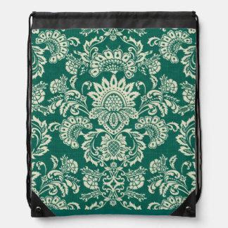 Damask vintage green drawstring bag