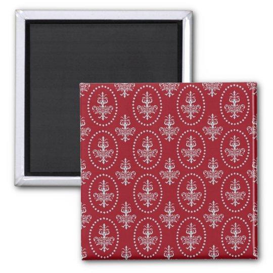 Damask vintage red wallpaper Fleur de lis pattern