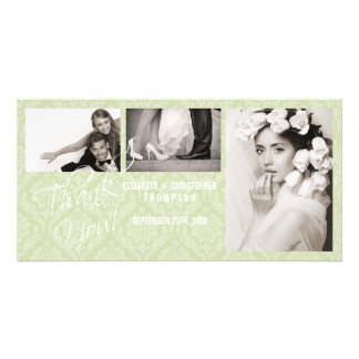 Damask Vintage Thank You Wedding Photo Card - sage