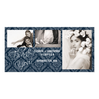 Damask Vintage ThankYou Wedding Photo Card- nite Card