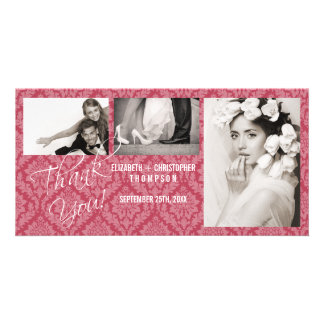 Damask Vintage ThankYou Wedding Photo Card-rhubar Card