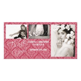 Damask Vintage ThankYou Wedding Photo Card-rhubar Custom Photo Card