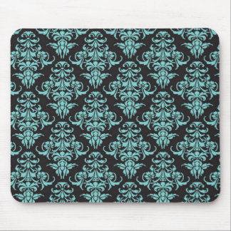 Damask vintage wallpaper blue girly chic mouse pad