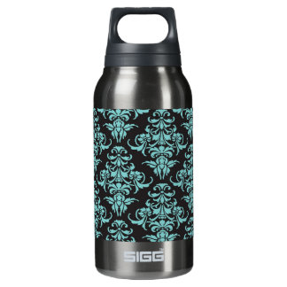Damask vintage wallpaper blue girly chic 10 oz insulated SIGG thermos water bottle