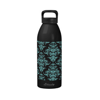 Damask vintage wallpaper blue girly chic reusable water bottle