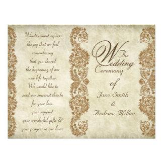 Damask vintage Wedding Program Custom Flyer