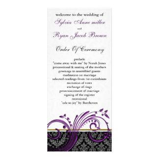 damask violet Wedding program Customised Rack Card