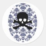 Damask w/ Skull Round Sticker