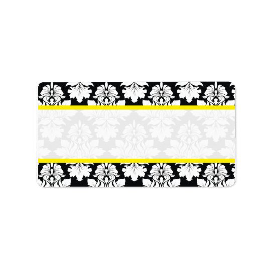 Damask Wedding Black White Yellow Labels