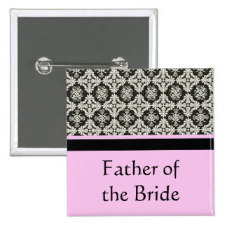 damask wedding button. for father,brother 15 cm square badge