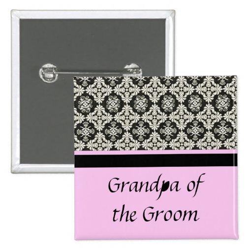 damask wedding button. for  grandpa pins