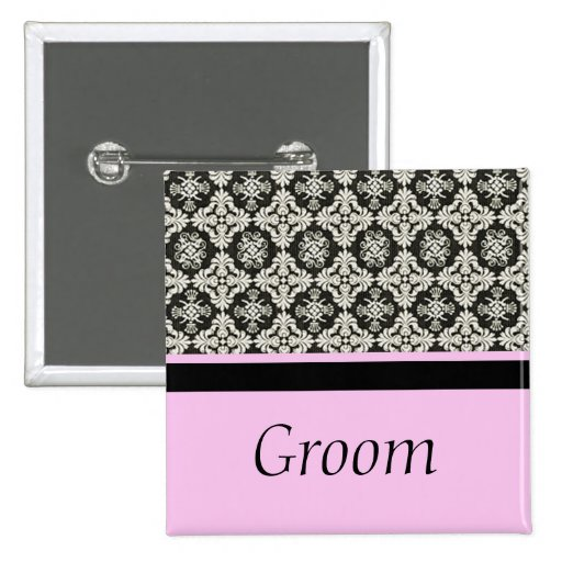damask wedding button for groom pinback button