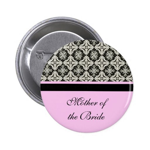 damask wedding button. for mother, sister, brother pinback button