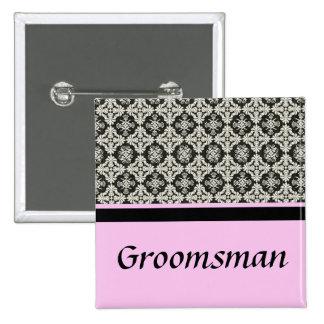 damask wedding button groomsman pin