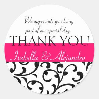 Damask Wedding Favor Stickers Thank You Message Round Sticker