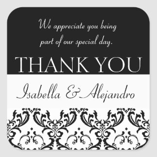 Damask Wedding Favour Thank You Label Black Square