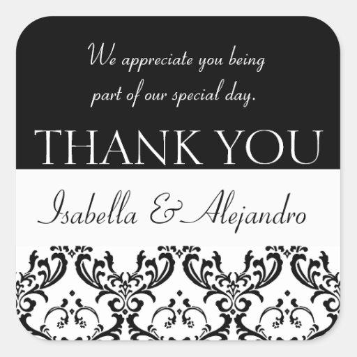 Damask Wedding Favour Thank You Label Black Square Square Sticker