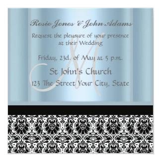 Damask Wedding Invitation black and Sky Blue