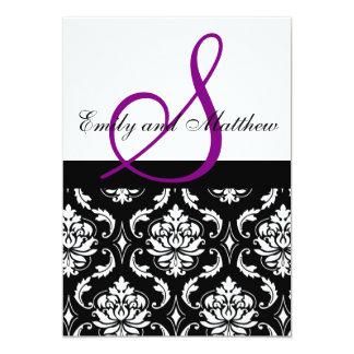 Damask Wedding Invitation Purple Monogram
