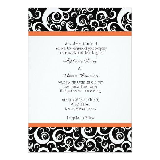 Damask Wedding Invitation with Orange