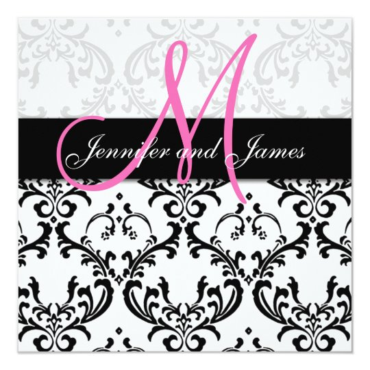 Damask Wedding Invitations Monogram Names Pink