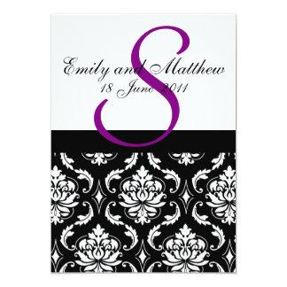 "Damask Wedding Invitations Purple Monogram 5"" X 7"" Invitation Card"