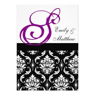 Damask Wedding Invitations Purple Monograms