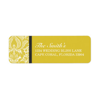 DAMASK WEDDING LABEL RETURN ADDRESS LABEL