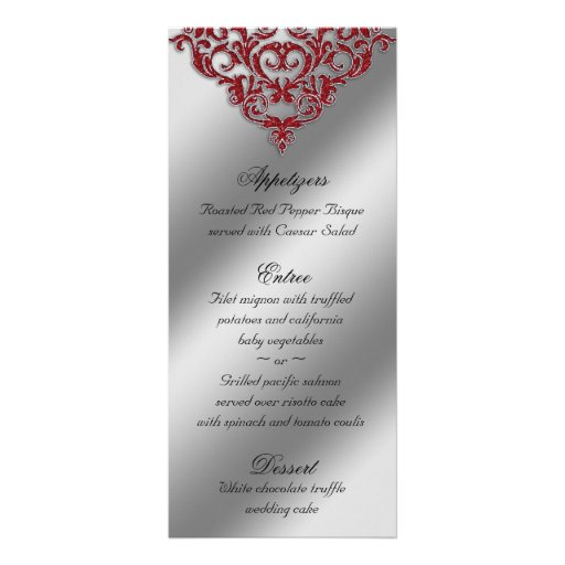 Damask Wedding Menu Cards Red Sparkle Xmas Personalized Rack Card