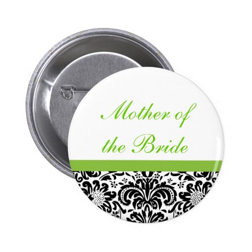 Damask Wedding Party Button