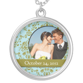 Damask Wedding Photo Pendant