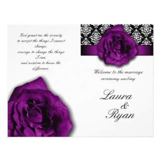Damask Wedding Program Flyer Purple Rose 2