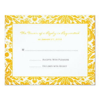 Damask Wedding RSVP Cards 11 Cm X 14 Cm Invitation Card