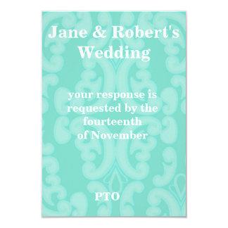 Damask Wedding Set In Aqua Mint 3.5x5 Paper Invitation Card