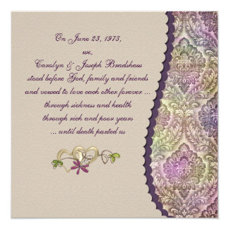 Damask Wedding Vow Renewal Card