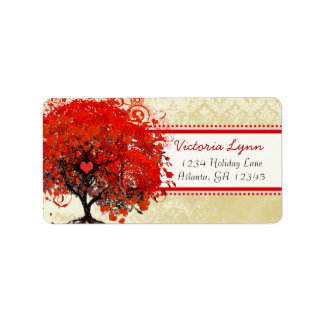 Damask Whimsical Heart Leafed Tree Red Pink Dots Address Label