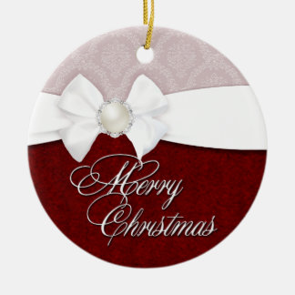 Damask White Satin Merry Christmas Christmas Ornament